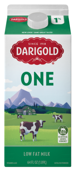 Darigold ONE low fat milk carton Half Gallon with 1% milkfat. Carton is white with light green top and bottom, gold cap