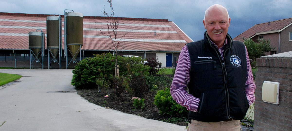 Dutch dairy farmer poses in front of his dairy