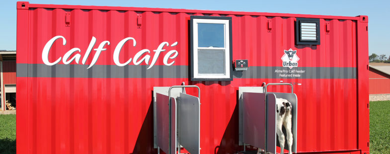 A red repurposed shipping container