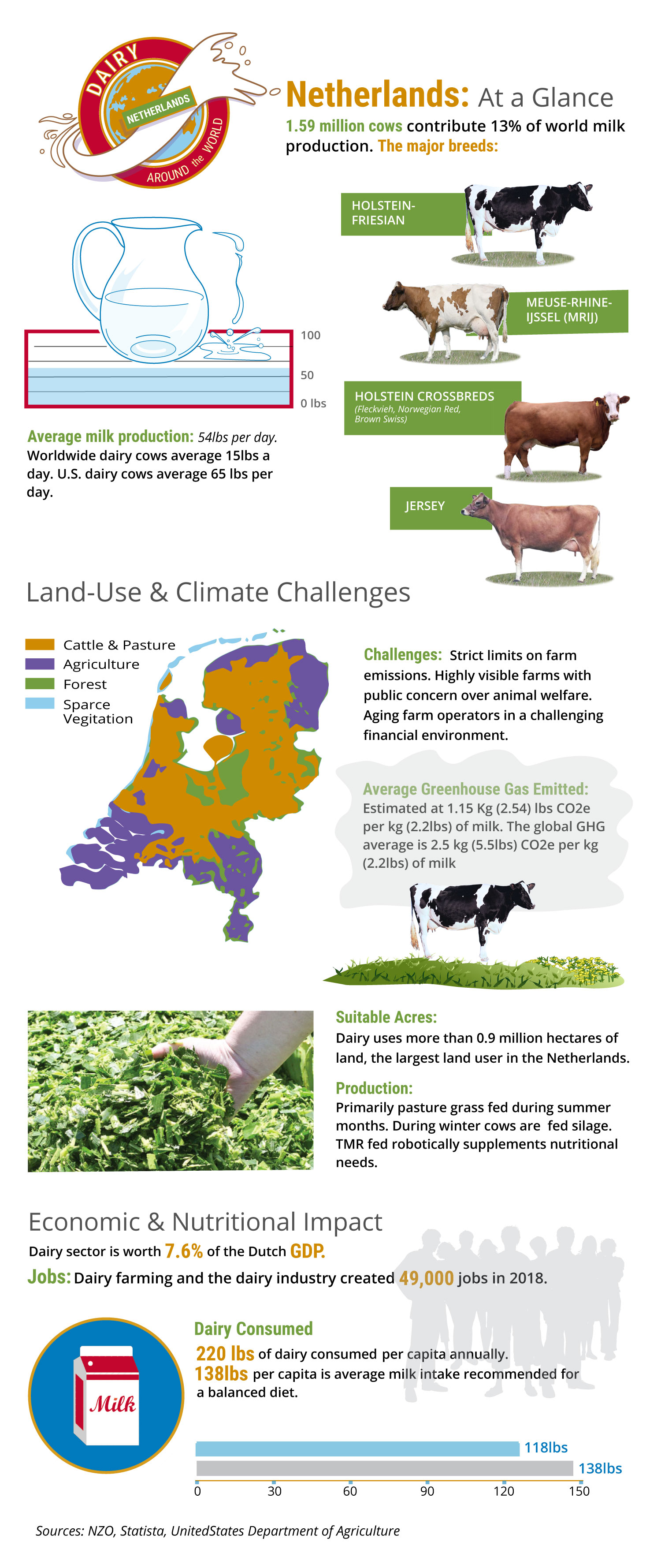 Infographic depicts an overview of the dairy sector in The Netherlands