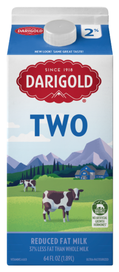 Darigold 2% Reduced Fat Half Gallon Carton. Carton is white with light blue top and bottom, gold cap