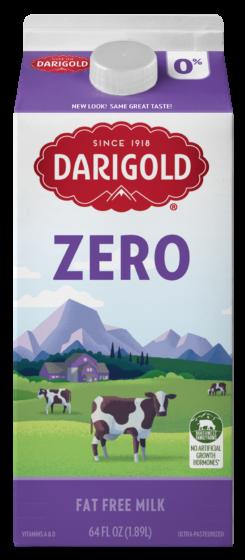 Darigold Zero Fat Free milk carton Half Gallon. Carton is white with purple top and bottom, gold cap