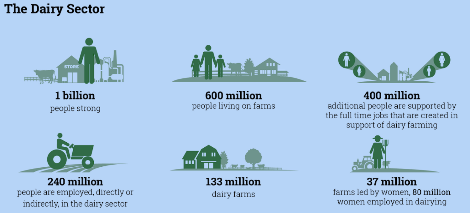 An infographic detailing stats about the global dairy sector