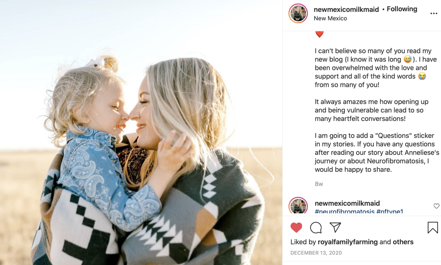 Instagram screen grab of a blonde woman holding her daughter