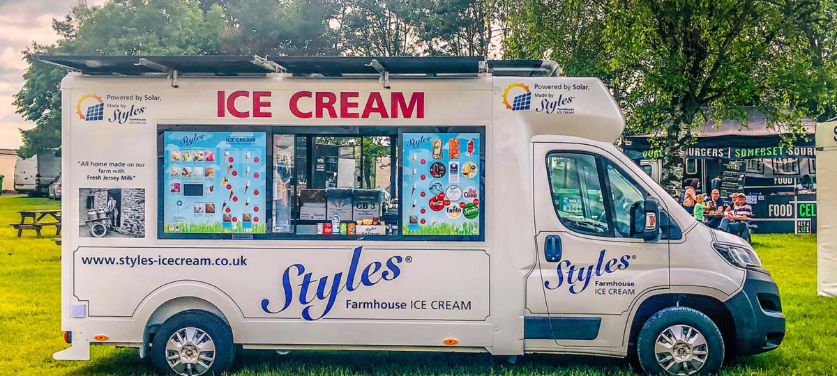 A solar-powered ice cream van on green grass
