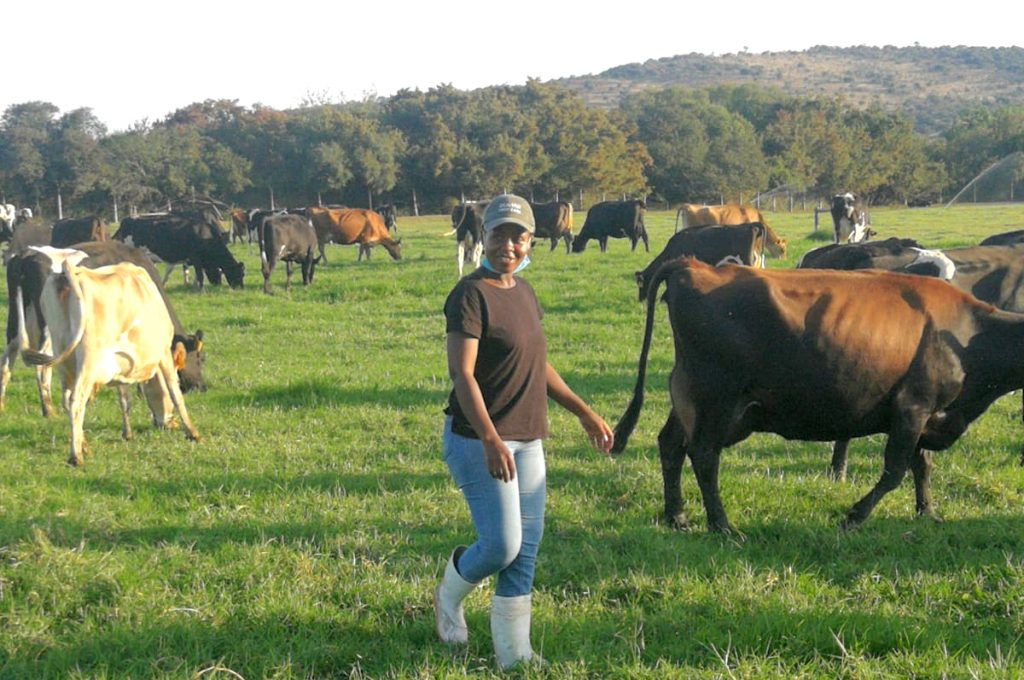 South African dairy farmer Jeanet Rikhotso stands in a field with cows