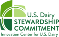 Green and white logo for US Dairy Stewardship Commitment