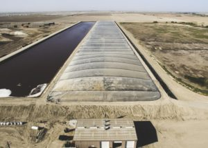 A covered manure lagoon in California