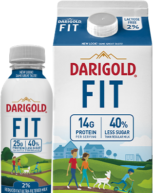 A carton and bottle of Darigold FIT milk side by side