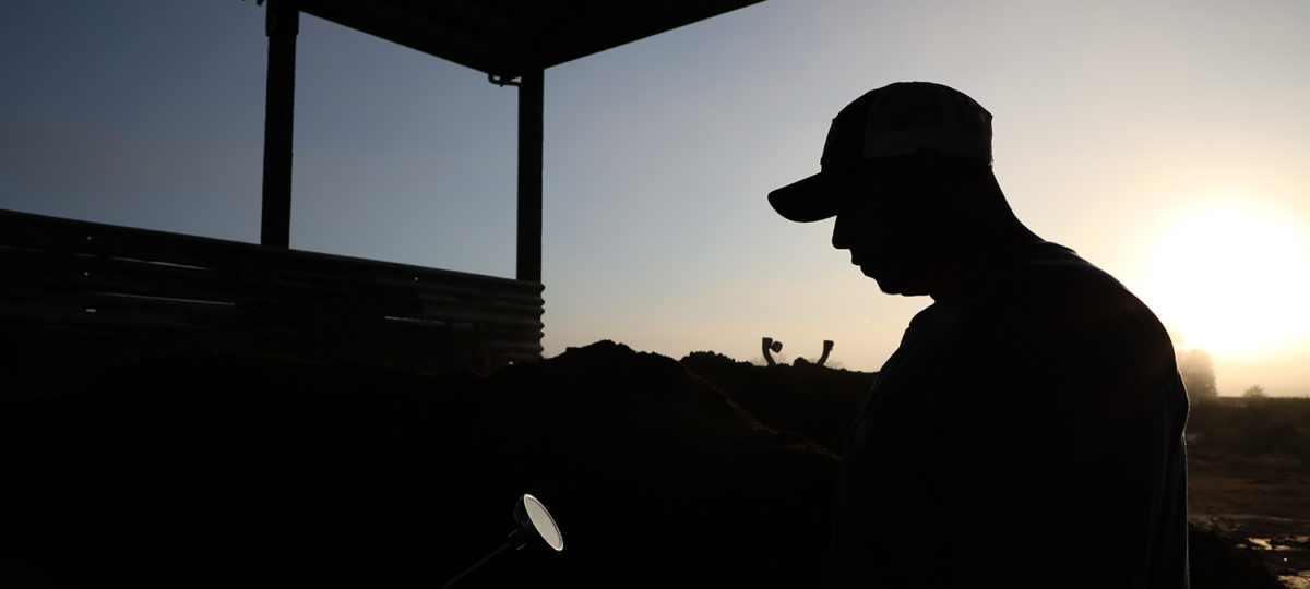 Silhouette of a man on a farm