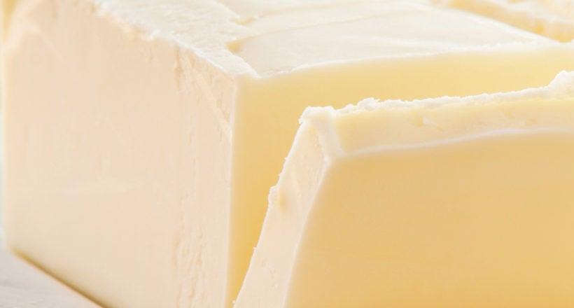 A small block of cut butter