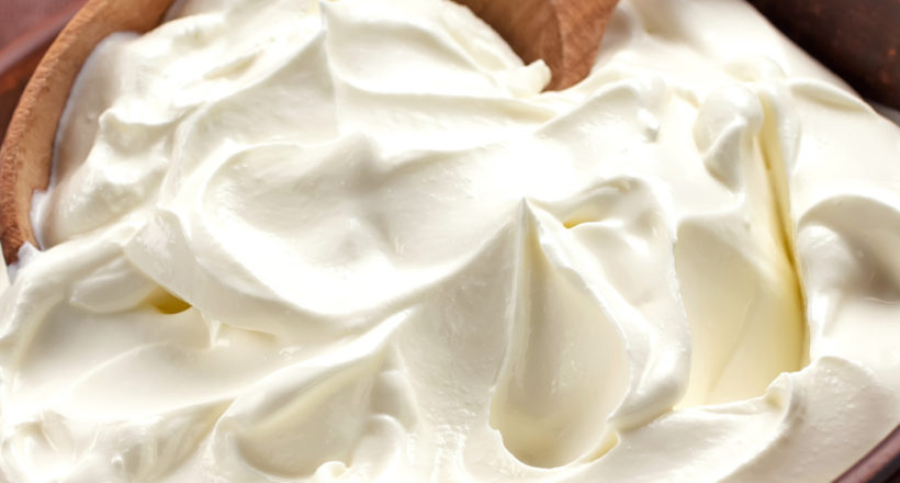 Close up view of sour cream